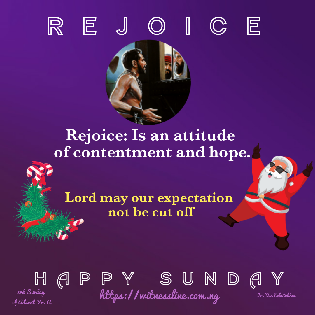 HOMILY FOR THIRD SUNDAY OF ADVENT (YEAR A), DECEMBER 15, 2019. Isaiah 35:1-6,10/Psalm 146:6-7,8-9,9-10/James 5:7-10/Matthew 11:2-11