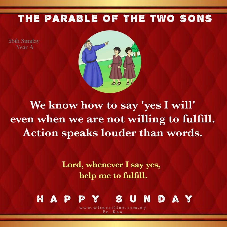 HOMILY FOR 26TH SUNDAY IN ORDINARY TIME (YEAR A), SEPTEMBER 27, 2020