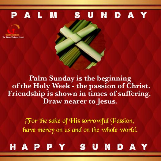 HOMILY FOR PALM SUNDAY, YEAR B (MARCH 28, 2021)